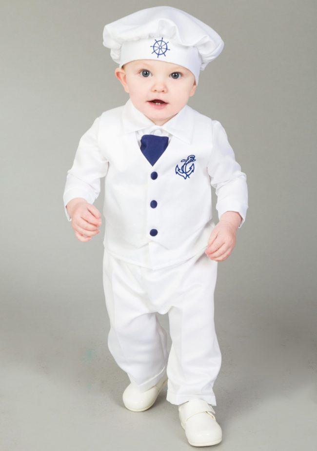 4 Piece Christening Suit White/Navy-0
