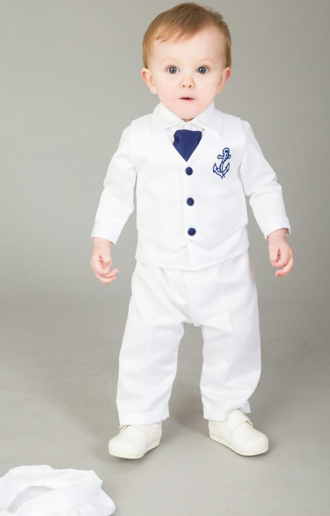 4 Piece Christening Suit White/Navy-1611