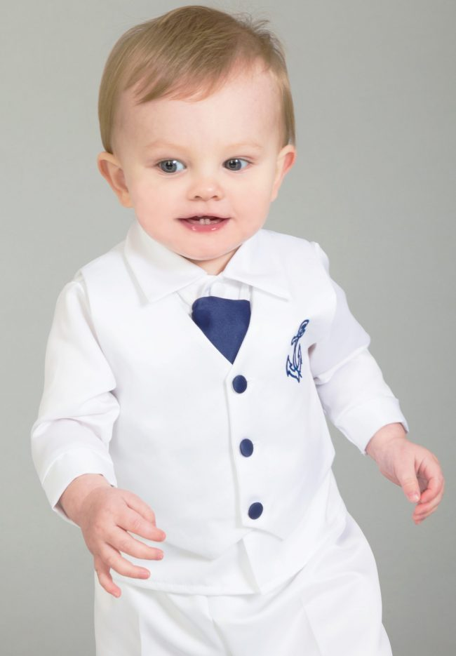 4 Piece Christening Suit White/Navy-1612