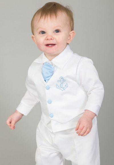 4 Piece Christening Suit Light Blue-0