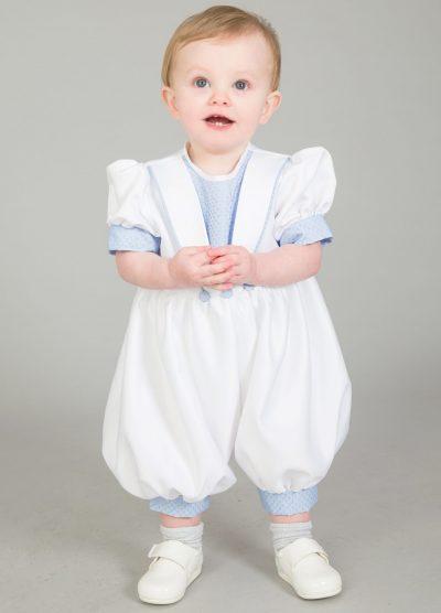 Christening Romper White/Blue br21-0