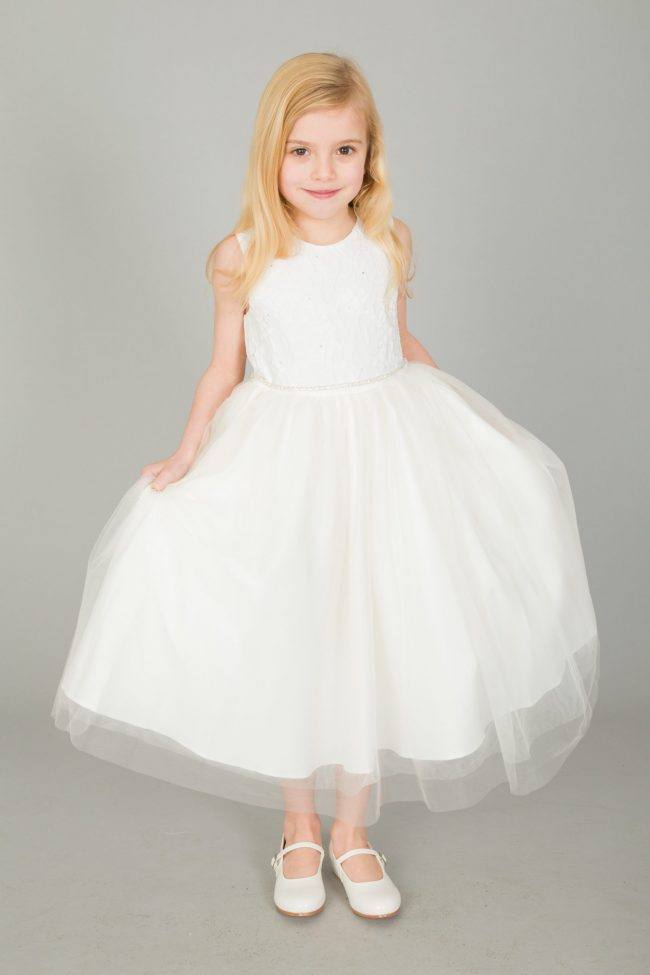 Girls Emboss Design with Sparkles in IVORY-1631