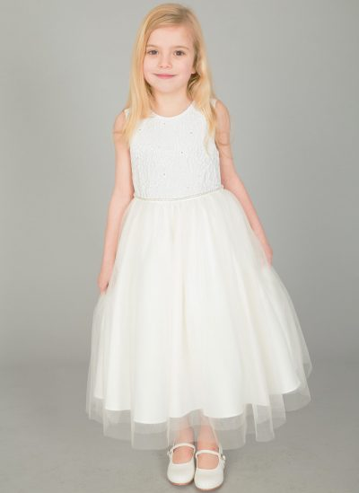 Girls Emboss Design with Sparkles in IVORY-0