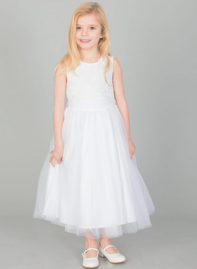 GIRLS WHITE FLOWER DIAMOND DRESS WITH WHITE BELT-1642