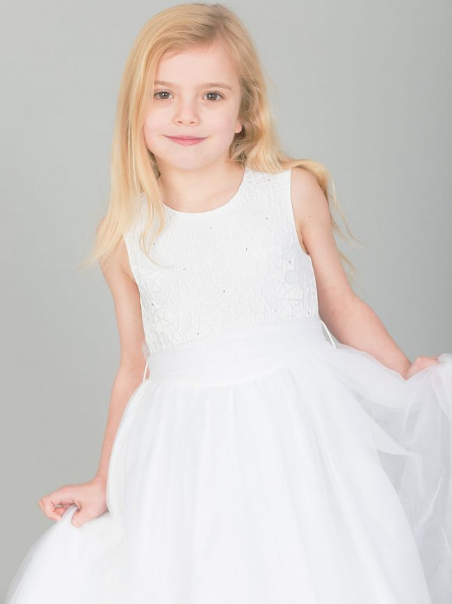 GIRLS WHITE FLOWER DIAMOND DRESS WITH WHITE BELT-1643