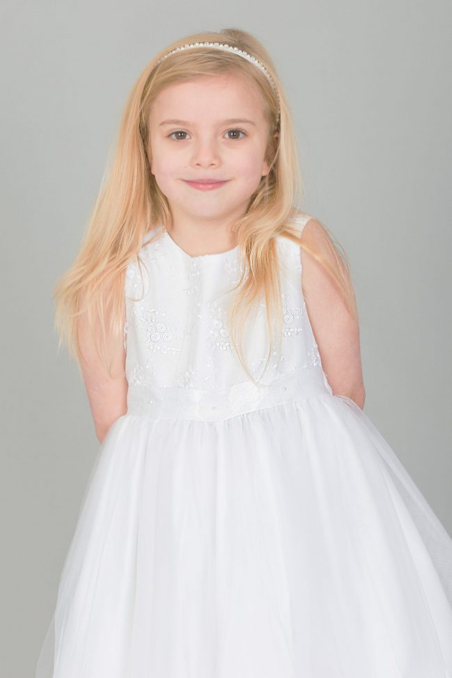 Girls Dress with Embroidery and Flower Sash in White-1647