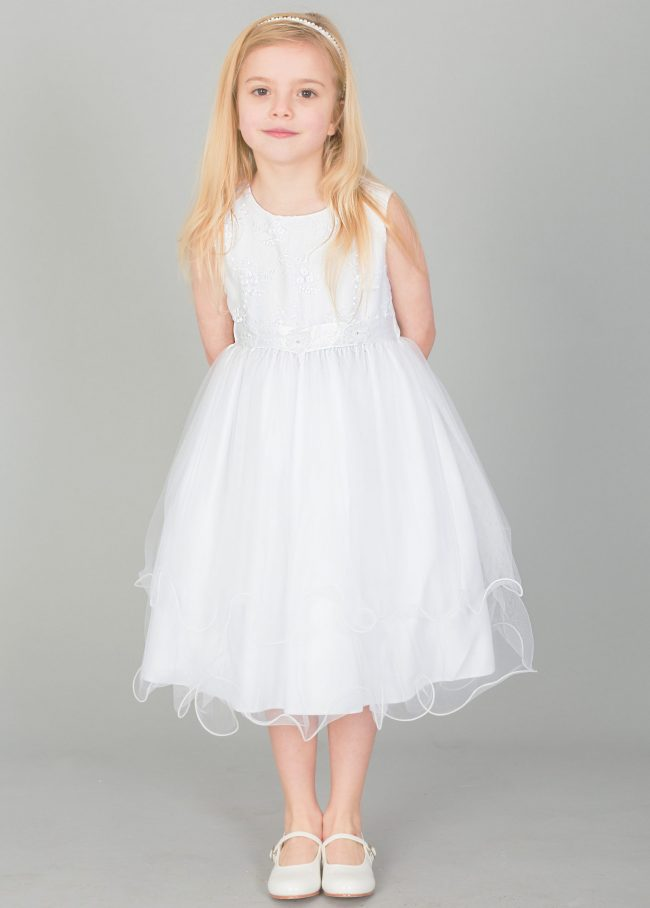Girls Dress with Embroidery and Flower Sash in White-0