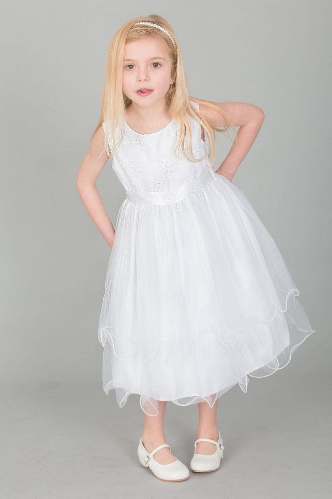 Girls Dress with Embroidery and Flower Sash in White-1649