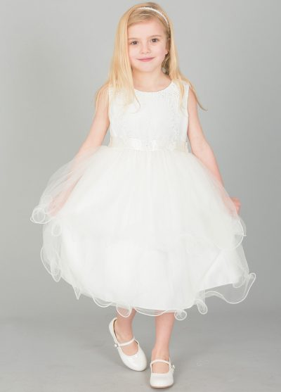 Girls Dress with Embroidery and Flowers on Sash in Ivory-0