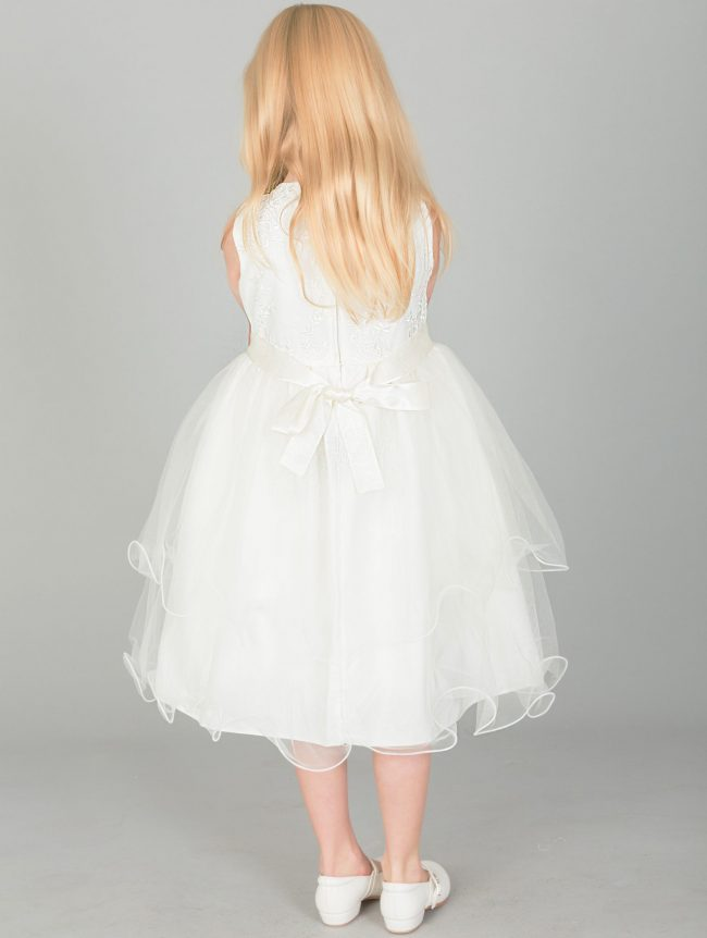 Girls Dress with Embroidery and Flowers on Sash in Ivory-1651