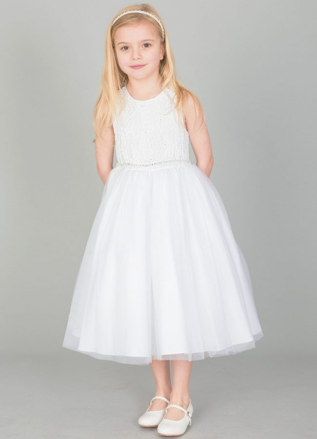Girls Emboss Design with Sparkles in WHITE-1633