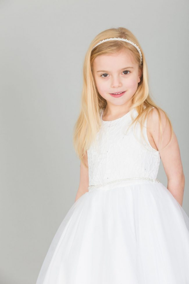 Girls Emboss Design with Sparkles in WHITE-0