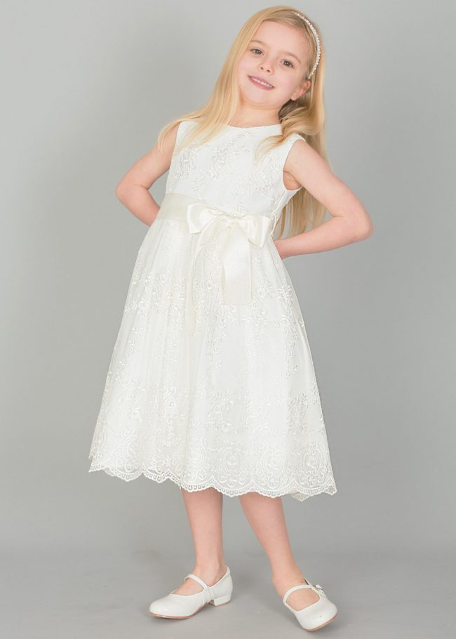 Girls Lace dress with Bow in IVORY-0