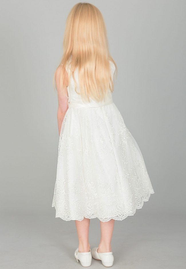 Girls Lace dress with Bow in IVORY-1638