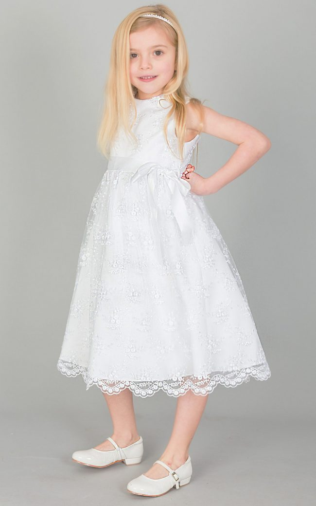Girls Lace dress with Bow in WHITE-0