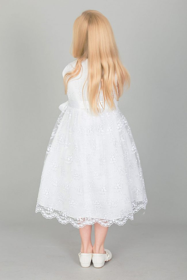 Girls Lace dress with Bow in WHITE-1639