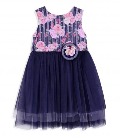 Girls Dark Blue Floral Mesh Dress Bundle x 4 -0