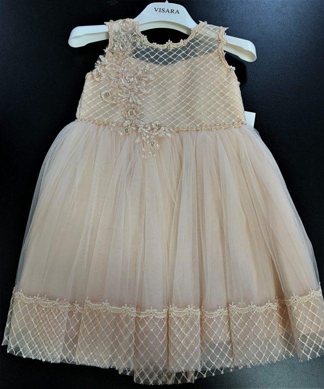 Girls Peach Dress Royal Jewled -0