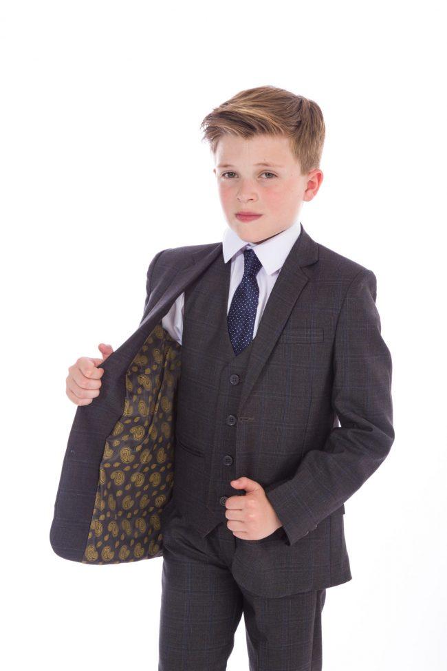 5 Piece Grey Check Suit-0