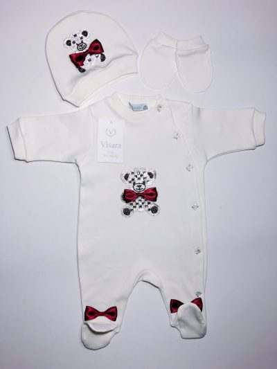 Boys Red Overall Baby Grow-0
