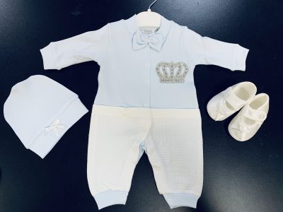 Boys 3pc Blue Baby Grow Set-0