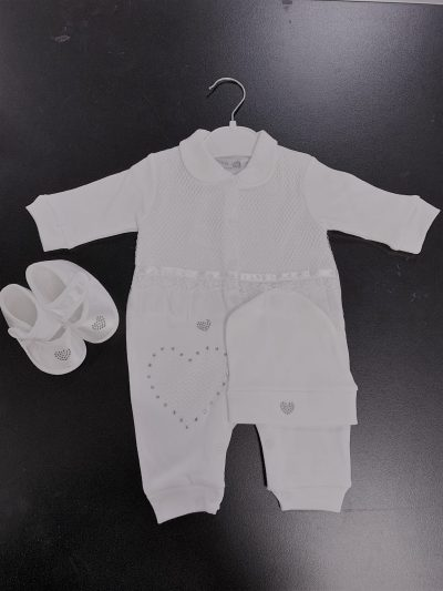 Girls 3pc Ivory Baby Grow Set-0