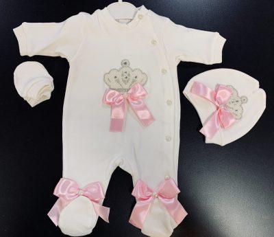 Boys Pink Overall Baby Grow-0