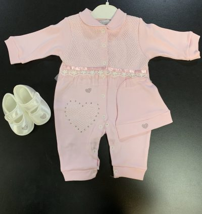 Girls 3pc Pink Baby Grow Set-0