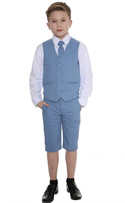 Boys Blue Short Set Linen Suit -0