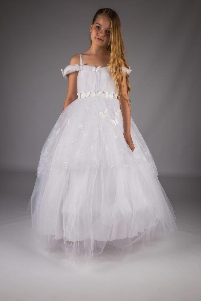 Girls White Communion Dress-0