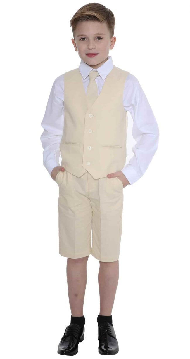 Boys Sand Short Set Linen Suit -0