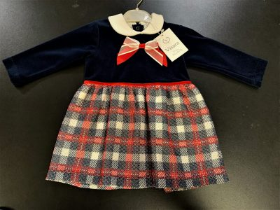 Girls Visara Check Dress Navy-0