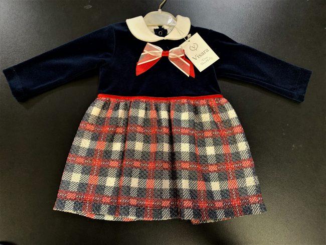 Girls Visara Check Dress Navy-0