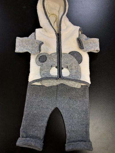 Boys Grey Small Check Teddy Bear Set-0