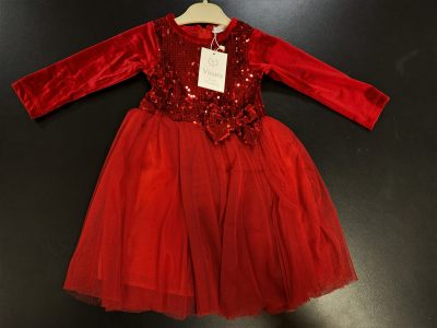 Girls Red Glitter Dress-0