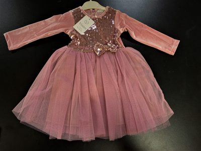 Girls Pink Glitter Dress-0